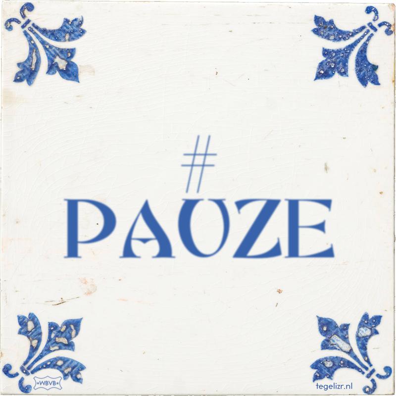# PAUZE - Online tegeltjes bakken