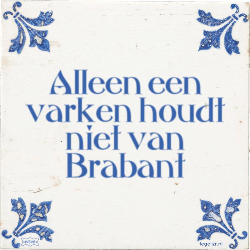 Alleen een varken houdt niet van Brabant - Online tegeltjes bakken
