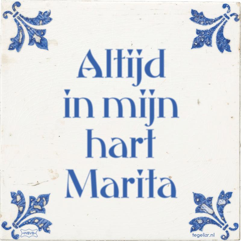 Altijd in mijn hart Marita - Online tegeltjes bakken