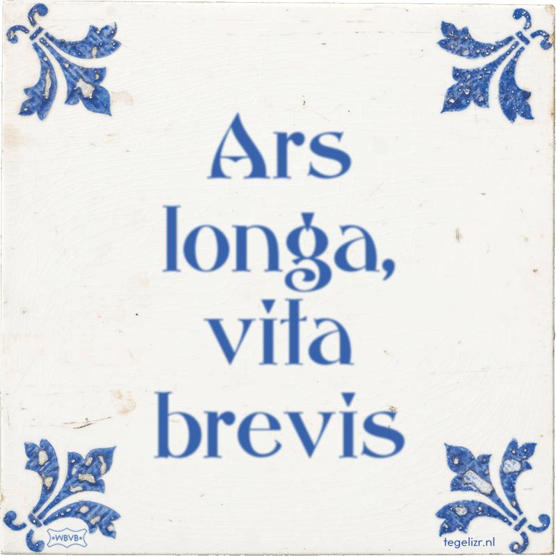 Ars longa, vita brevis - Online tegeltjes bakken