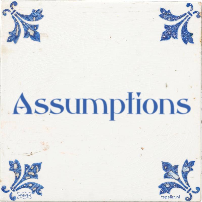 Assumptions - Online tegeltjes bakken