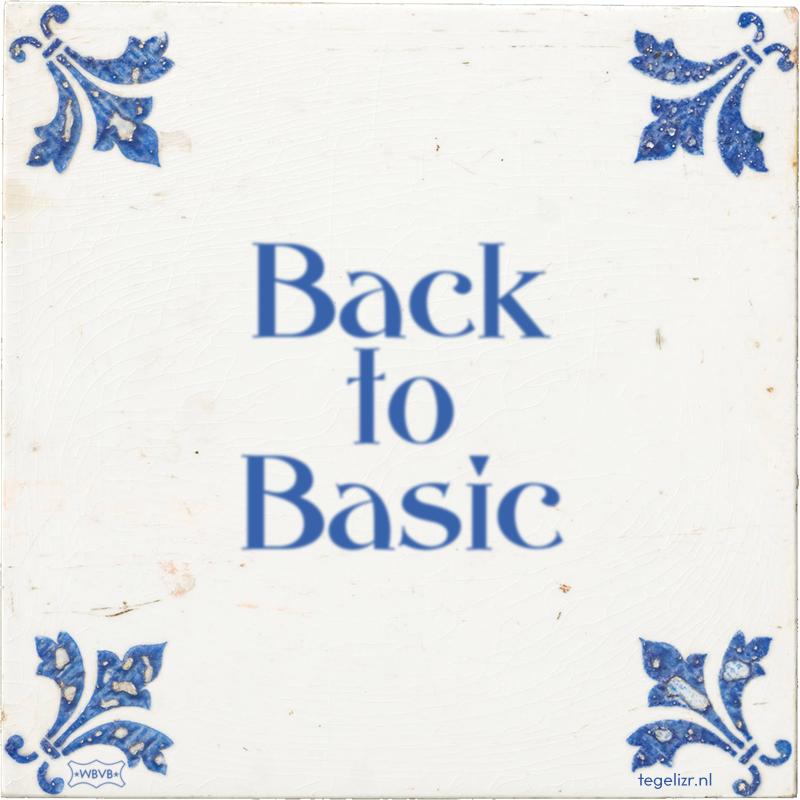 Back to Basic - Online tegeltjes bakken