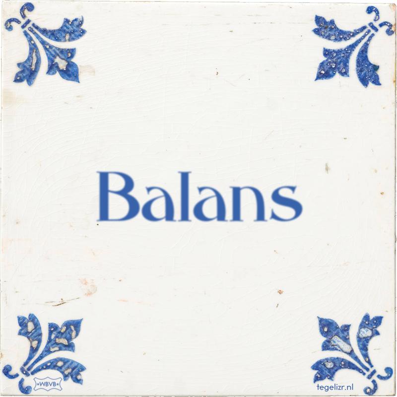 Balans - Online tegeltjes bakken