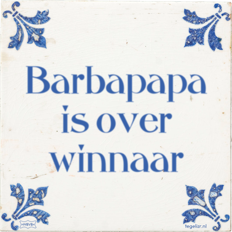 Barbapapa is over winnaar - Online tegeltjes bakken