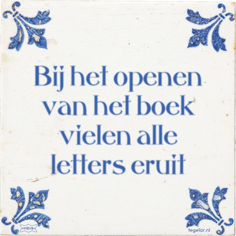 Bij het openen van het boek vielen alle letters eruit - Online tegeltjes bakken