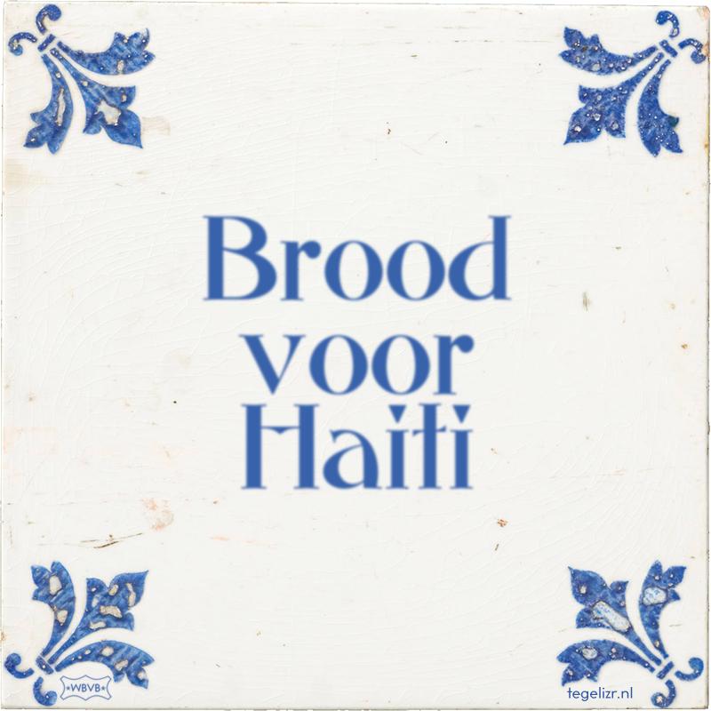 Brood voor Haiti - Online tegeltjes bakken