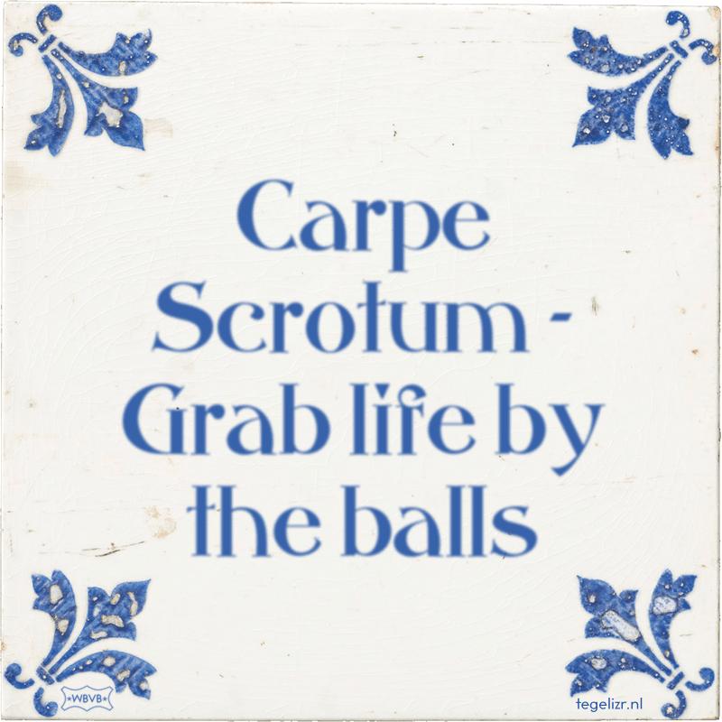Carpe Scrotum - Grab life by the balls - Online tegeltjes bakken