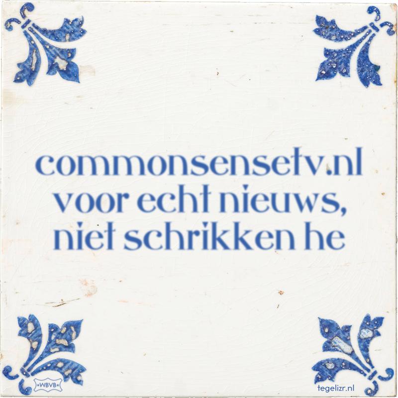 commonsensetv.nl voor echt nieuws, niet schrikken he - Online tegeltjes bakken