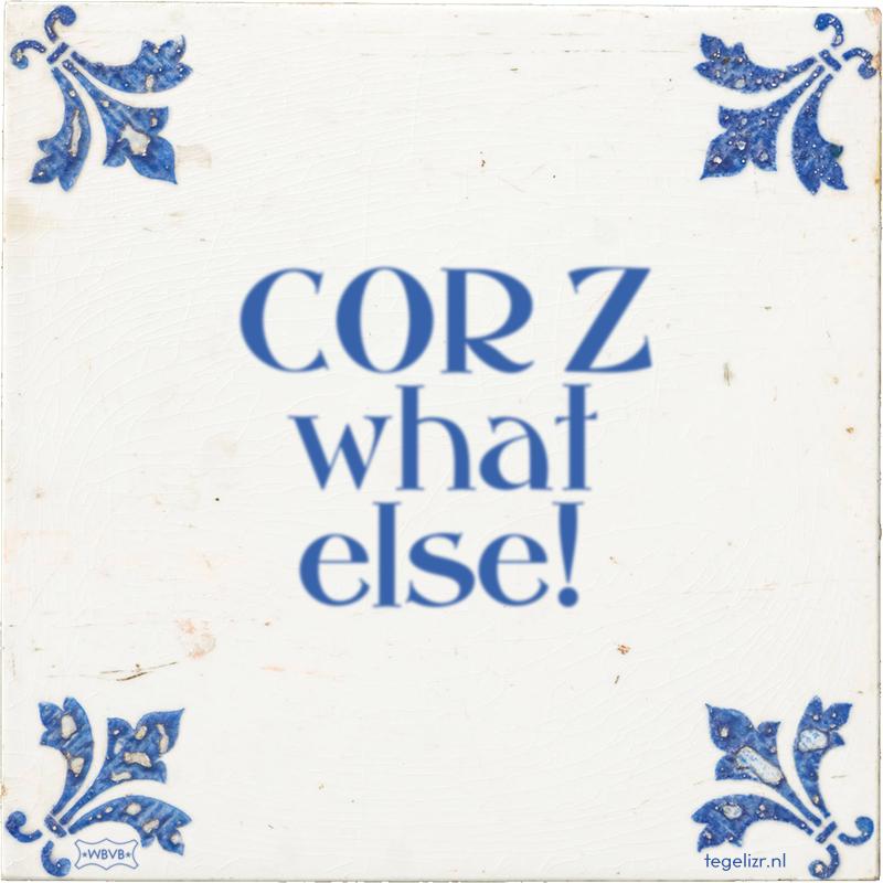 COR Z what else! - Online tegeltjes bakken