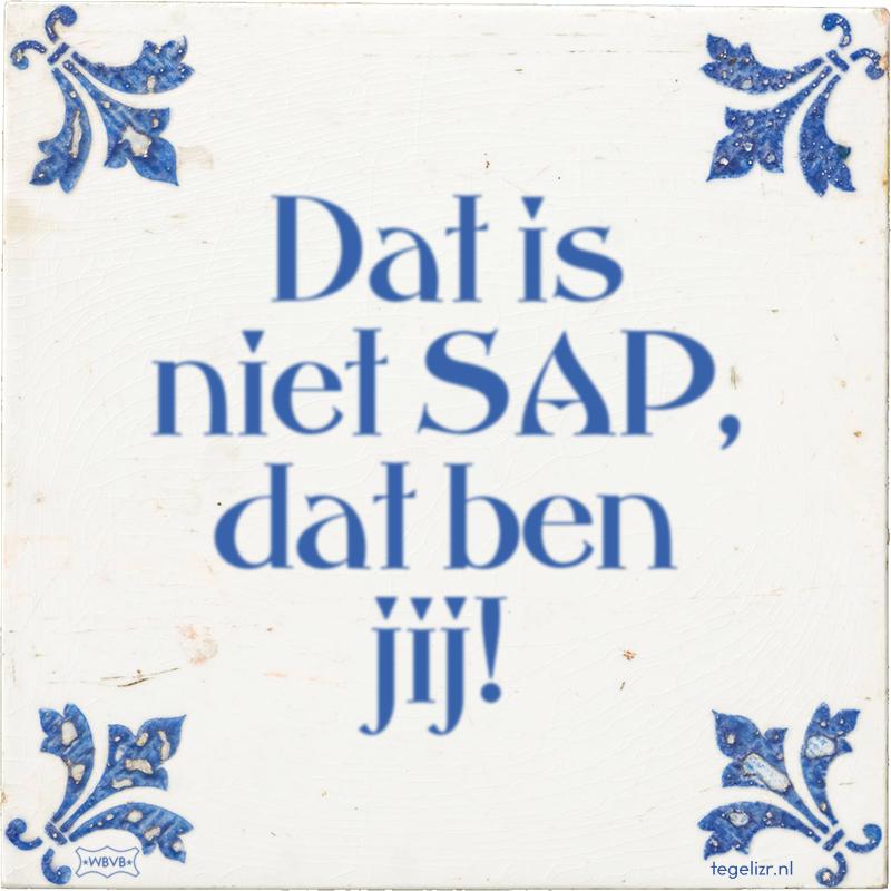 Dat is niet SAP, dat ben jij! - Online tegeltjes bakken