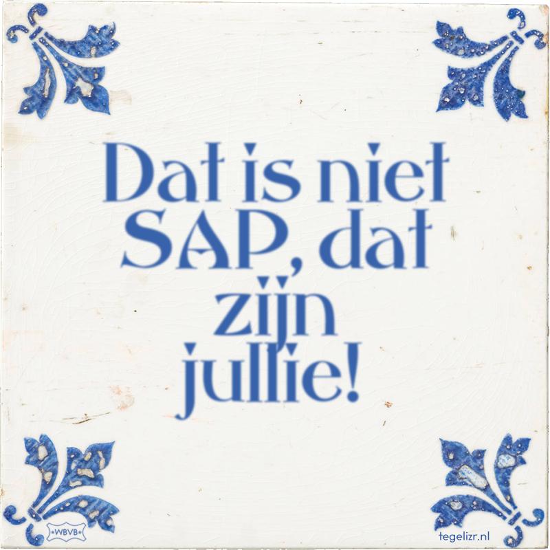 Dat is niet SAP, dat zijn jullie! - Online tegeltjes bakken