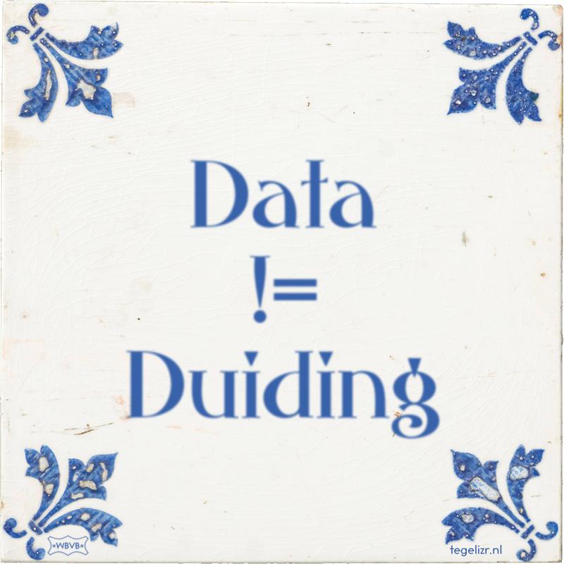Data != Duiding - Online tegeltjes bakken