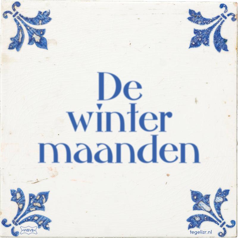 De winter maanden - Online tegeltjes bakken