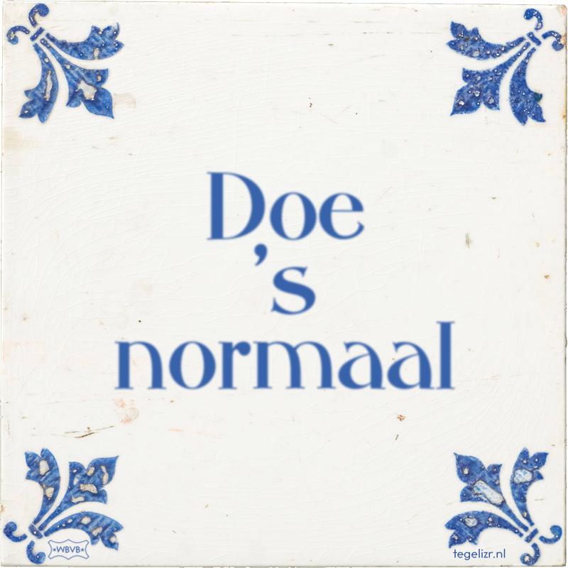 Doe 's normaal - Online tegeltjes bakken