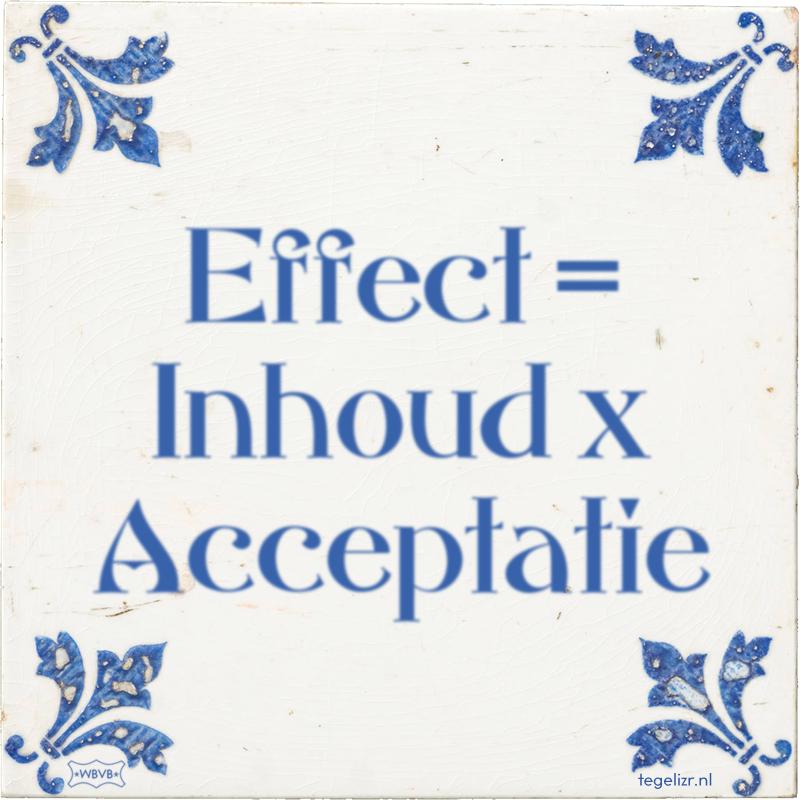 Effect = Inhoud x Acceptatie - Online tegeltjes bakken