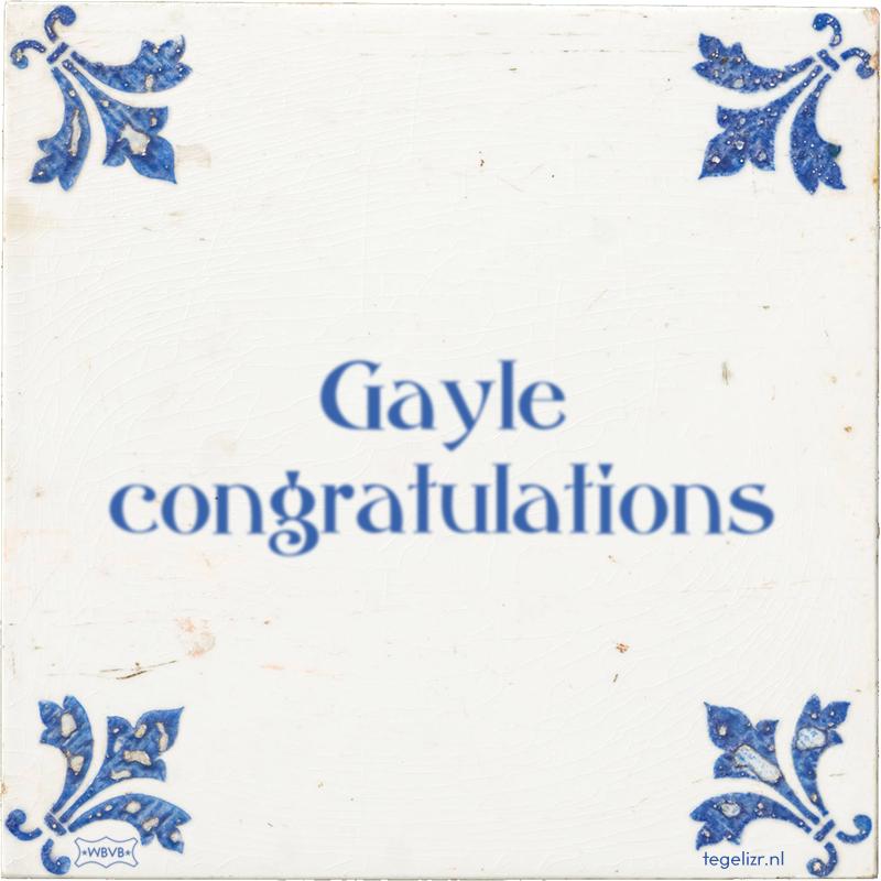 Gayle congratulations - Online tegeltjes bakken