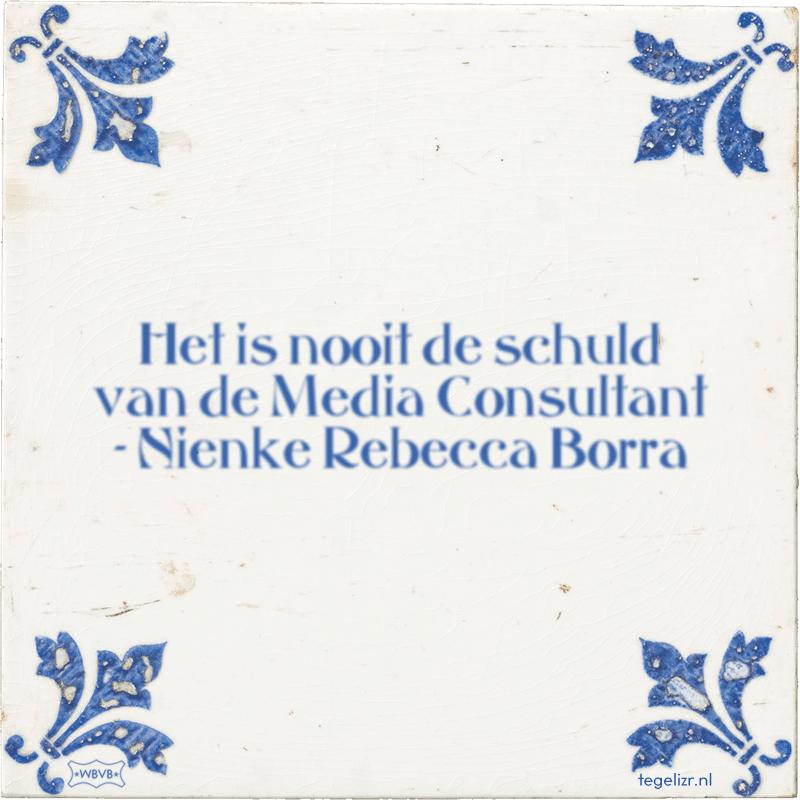 Het is nooit de schuld van de Media Consultant - Nienke Rebecca Borra - Online tegeltjes bakken