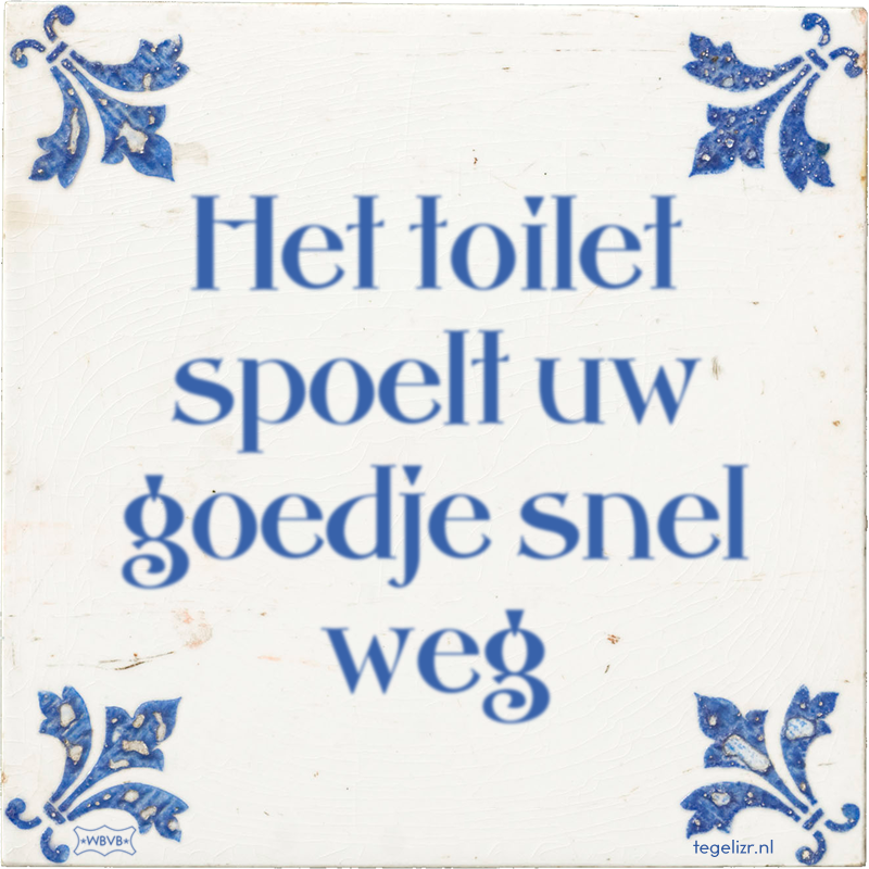 Het toilet spoelt uw goedje snel weg - Online tegeltjes bakken