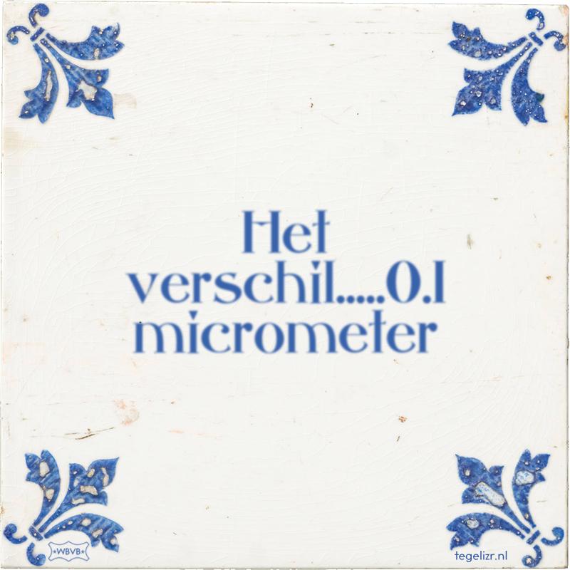 Het verschil.....0.1 micrometer - Online tegeltjes bakken