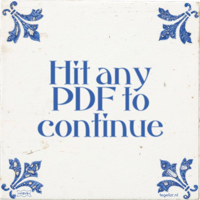 Hit any PDF to continue - Online tegeltjes bakken