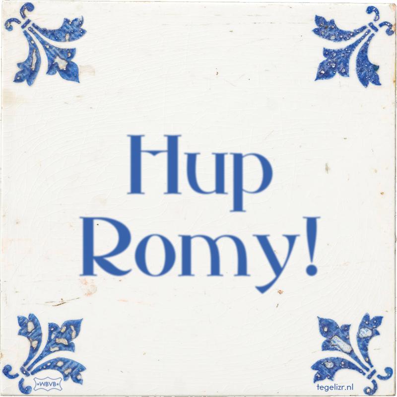 Hup Romy! - Online tegeltjes bakken