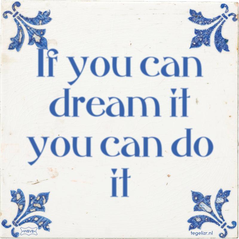 If you can dream it you can do it - Online tegeltjes bakken