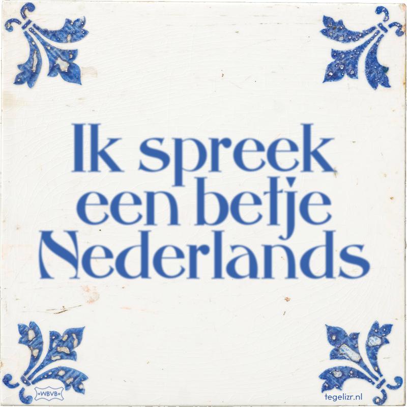 Ik spreek een betje Nederlands - Online tegeltjes bakken