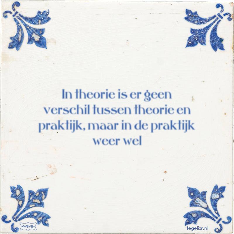 In theorie is er geen verschil tussen theorie en praktijk, maar in de praktijk weer wel - Online tegeltjes bakken