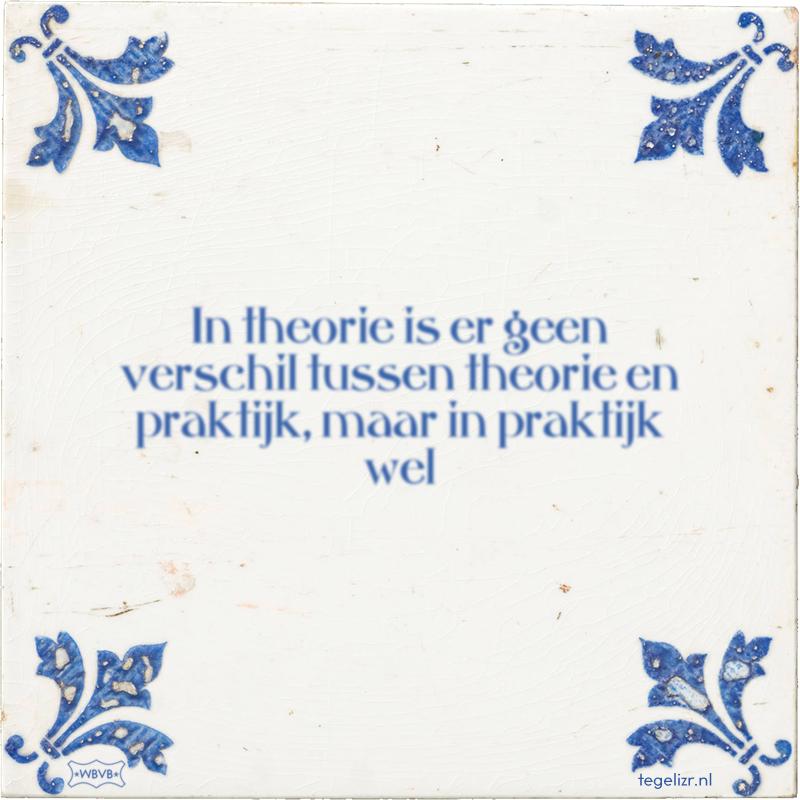 In theorie is er geen verschil tussen theorie en praktijk, maar in praktijk wel - Online tegeltjes bakken