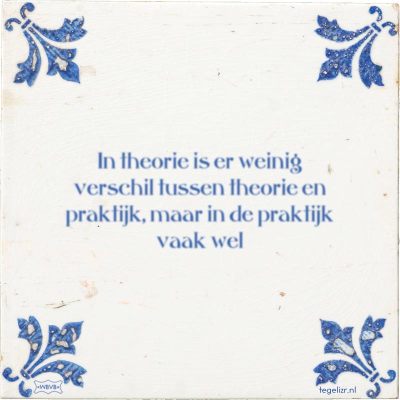 In theorie is er weinig verschil tussen theorie en praktijk, maar in de praktijk vaak wel - Online tegeltjes bakken