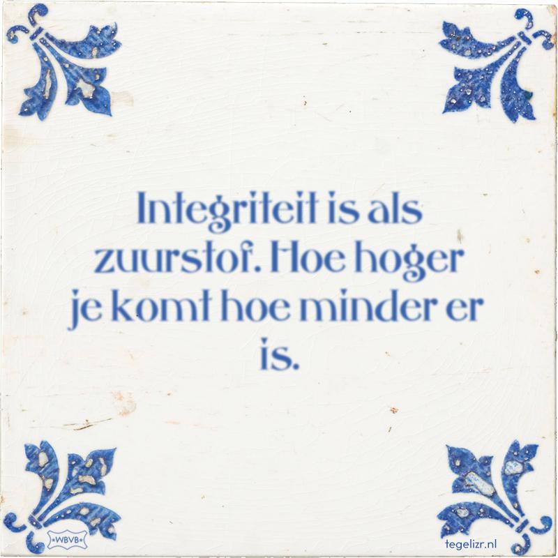 Integriteit is als zuurstof. Hoe hoger je komt hoe minder er is. - Online tegeltjes bakken