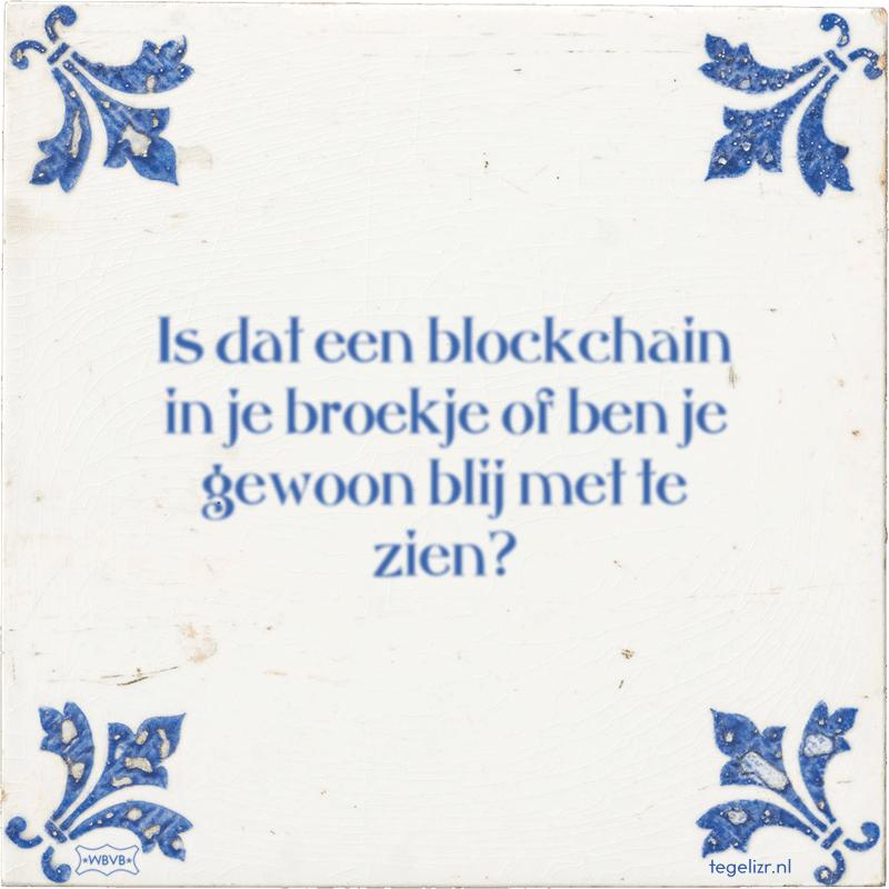 Is dat een blockchain in je broekje of ben je gewoon blij met te zien? - Online tegeltjes bakken
