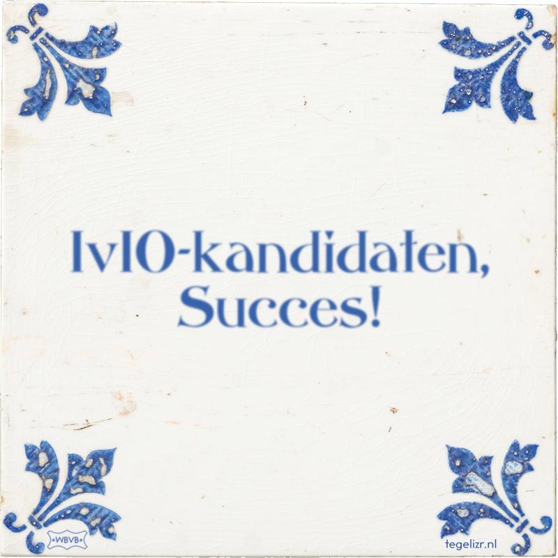 IvIO-kandidaten, Succes! - Online tegeltjes bakken