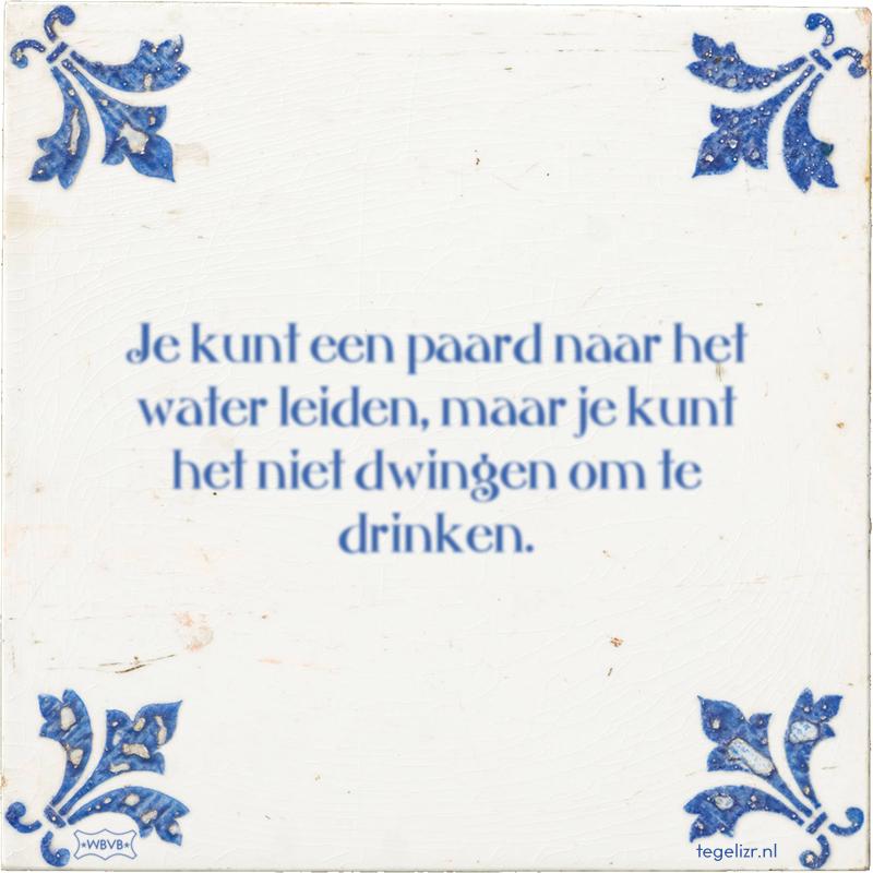 Je kunt een paard naar het water leiden, maar je kunt het niet dwingen om te drinken. - Online tegeltjes bakken