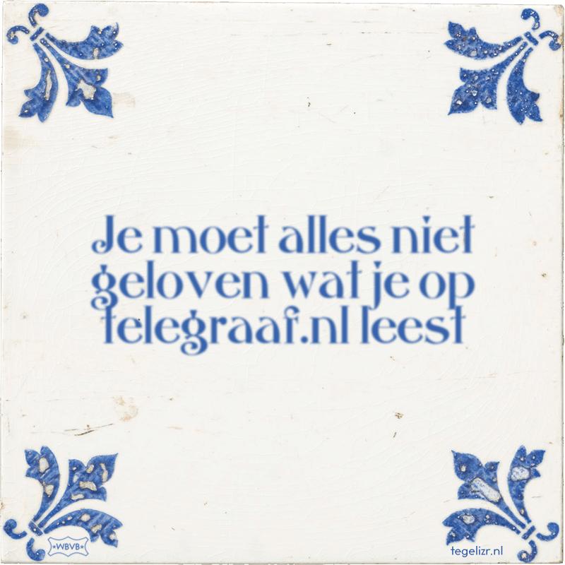 Je moet alles niet geloven wat je op telegraaf.nl leest - Online tegeltjes bakken