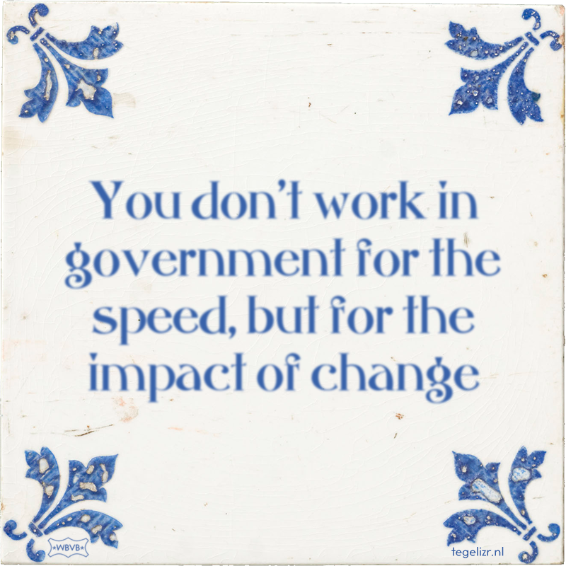 You don't work in Government for the speed, but for the impact of change - Online tegeltjes bakken